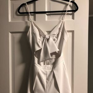 White Short Romper with open front